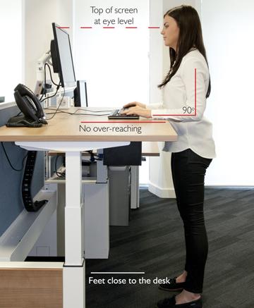 Standing desk position