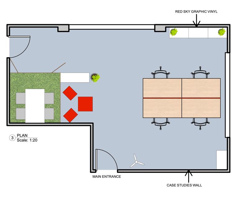 Red Sky studio office design layout